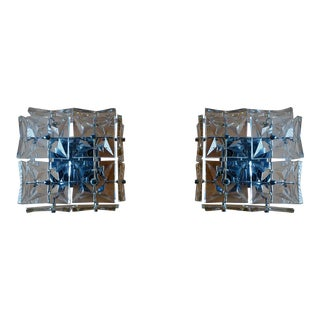 1970s Kinkeldey Wall Sconces in Crystal Glass and Chrome - a Pair For Sale