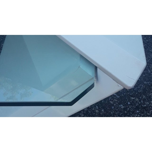 Late 20th Century Cantelevered Glass & Laquer Coffee Table - Image 5 of 6