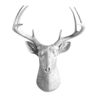 Wall Charmers Silver Faux Deer Head Mount Bust