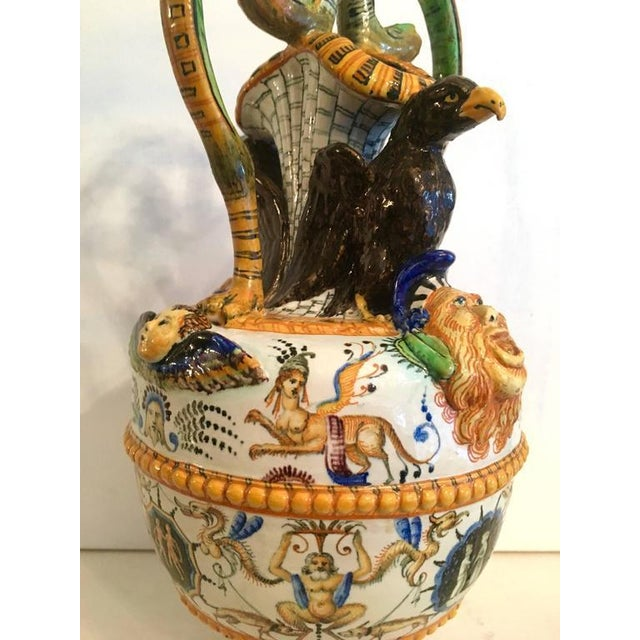 Orange Exceptional Majolica Urn Vase For Sale - Image 8 of 10