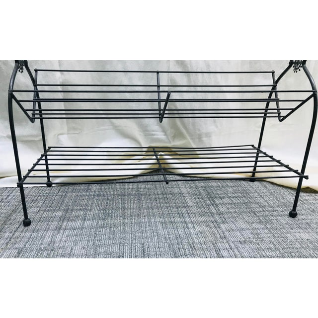 Metal 1960s Vintage Mid Century Modern Black Wire Plant Stand Bookshelf For Sale - Image 7 of 12