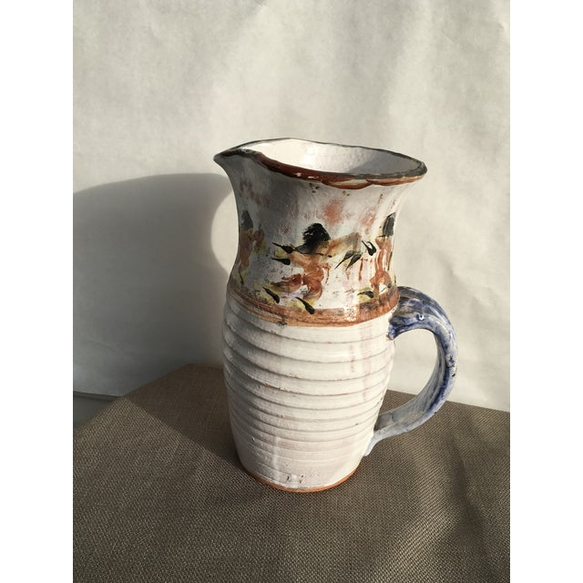 Expressionism Folk Art White Pottery Pitcher For Sale - Image 3 of 10
