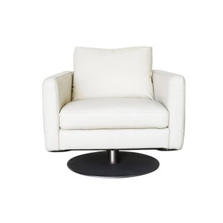 Modernist White Swivel Lounge Chair With Brush Steel Base Preview