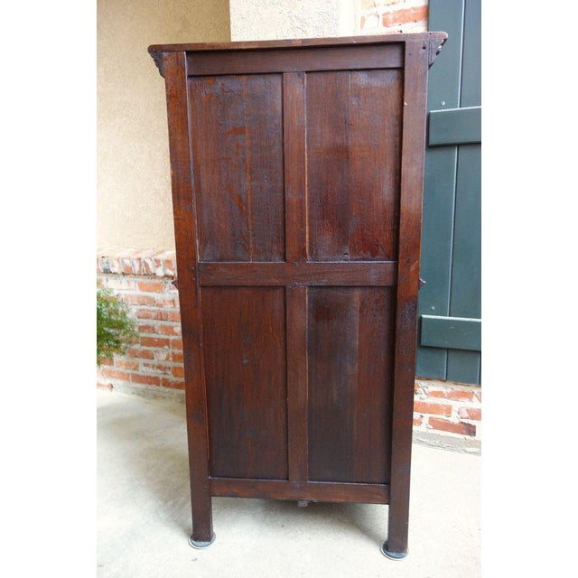 Antique French Carved Oak Gothic Vestment Cabinet For Sale - Image 10 of 11