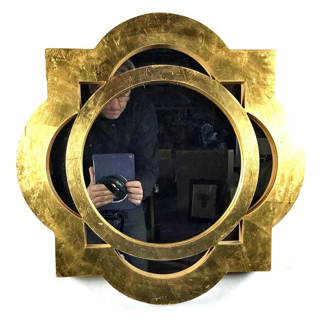 2010s Modern Gilt-Gold Painted Wood Framed Mirror For Sale - Image 5 of 5