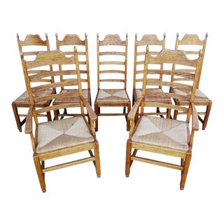 Vintage French Oak Dining Ladder Back Chairs - Set of 7