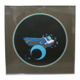 "1970s Vintage John Luke Eastman ""Blue Moon"" Signed Silkscreen Artists Proof For Sale"