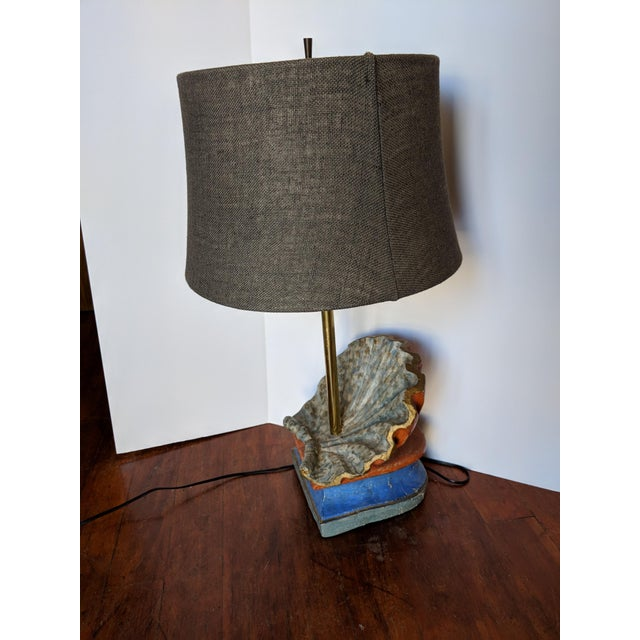 19th Century Rustic Hand-Carved Wooden Table Lamp For Sale - Image 4 of 7