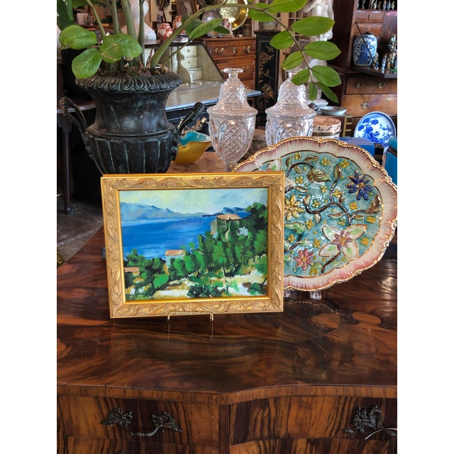 A small vintage French painting replica of The Bay of L'Estaque by Cezanne a 19th century post-impressionist painter.