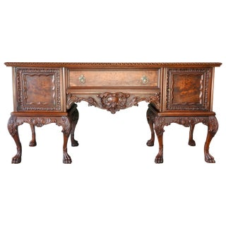Early 20th Century Hairy Paw Walnut Sideboard For Sale