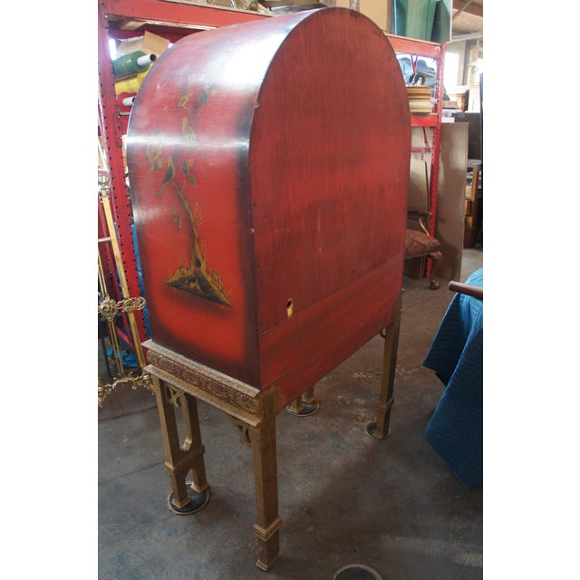 20th Century Chinese Red Lacquer Dry Bar Cabinet For Sale - Image 4 of 6