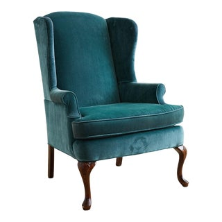 20th Century Queen Anne Teal Velvet Wingback Armchair For Sale