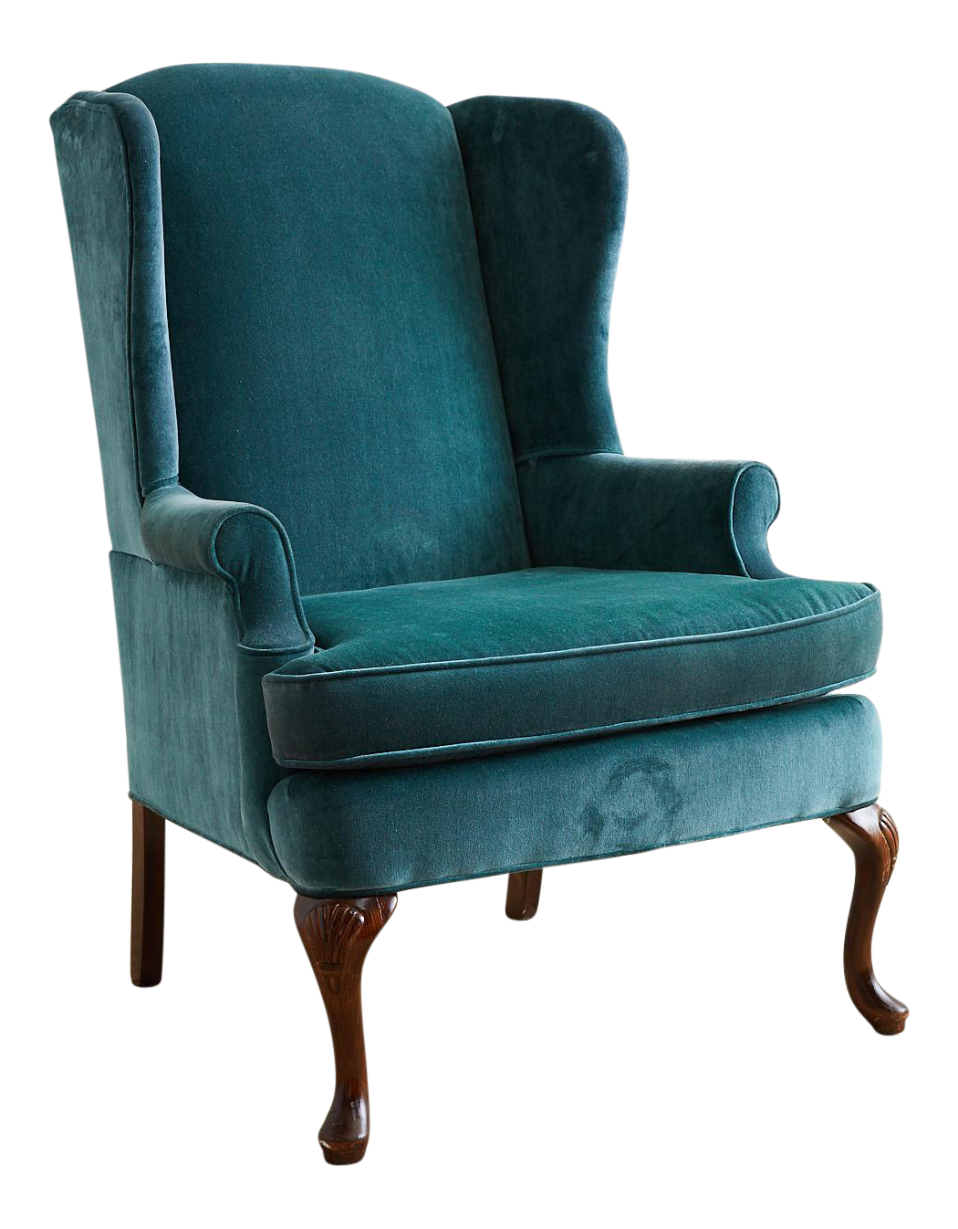20th Century Queen Anne Teal Velvet Wingback Armchair