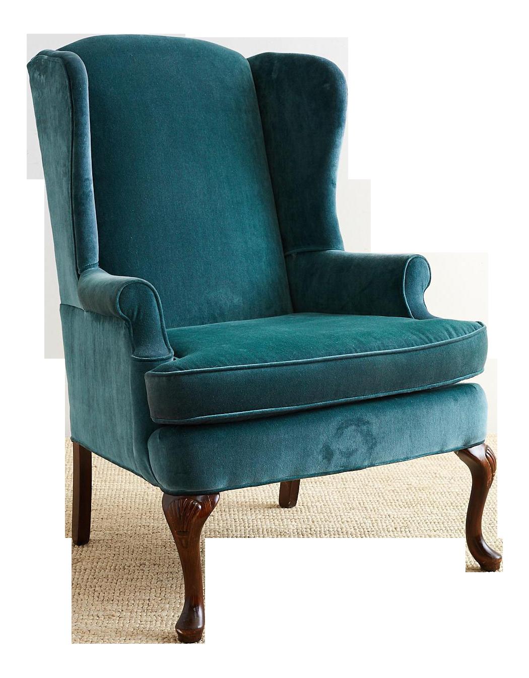 Superieur 20th Century Queen Anne Teal Velvet Wingback Armchair