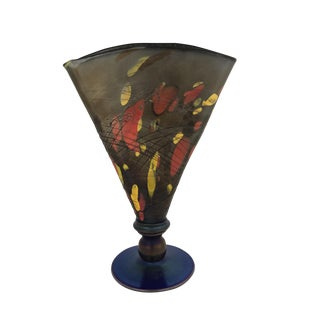 1925 Vintage Fenton Art Glass Mosaic Fan Vase For Sale