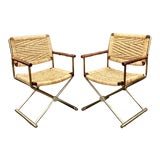 Image of Mid Century Modern, Director Style Armchairs With Rush Seats and Backs - a Pair For Sale