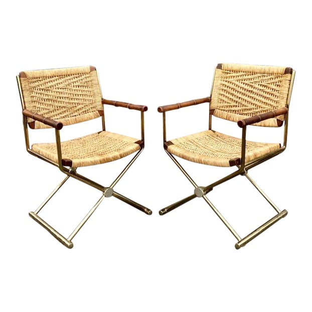 Mid Century Modern, Director Style Armchairs With Rush Seats and Backs - a Pair For Sale