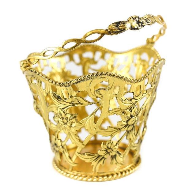 1769 Michael Plummer London George III Miniature Sterling Silver Pierced Basket For Sale - Image 4 of 6