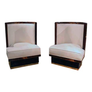 Pair of Italian Slipper Chairs For Sale