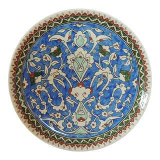 Vintage Hand Painted Blue Turkish Round Decorative Hanging Plate For Sale
