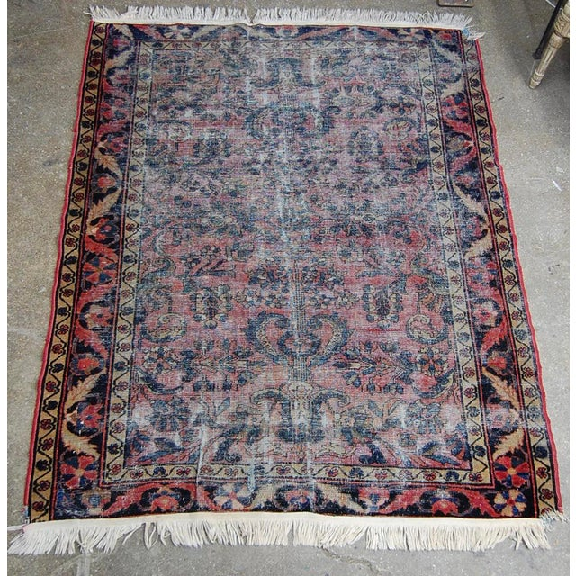1920's Distressed Persian Sarouk Kilim Rug