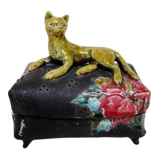 Ceramic Box with Cat Motif For Sale