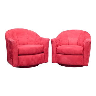 1970s Mid Century Modern Milo Baughman Style Red Swivel Chairs - a Pair For Sale