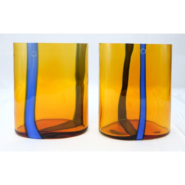 V. Nason & Co. V. Nason & C., Italy Amber and Blue Murano Glass Vase Set For Sale - Image 4 of 6