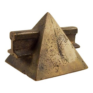 Small Bronze Pyramid Sculpture Paperweight For Sale