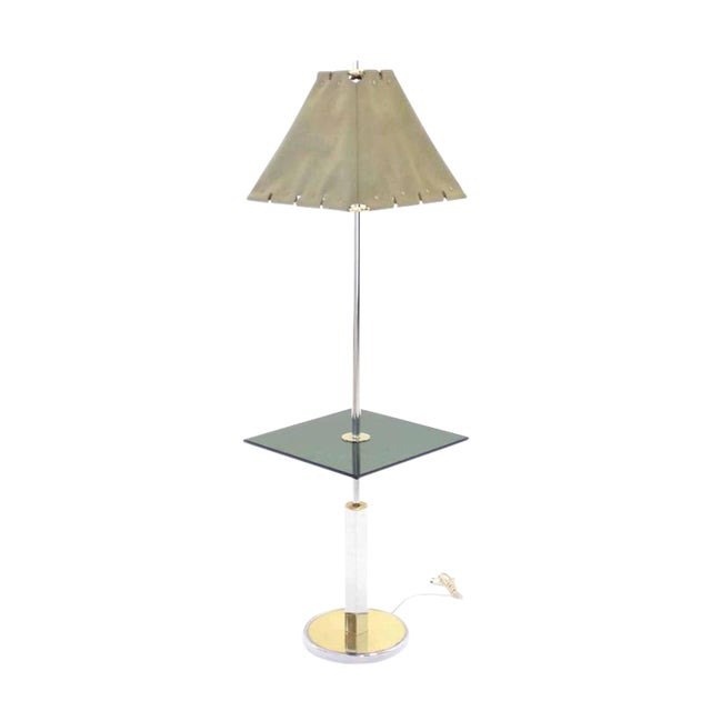 Mid-Century Modern Smoked Glass Side Table Floor Lamp For Sale