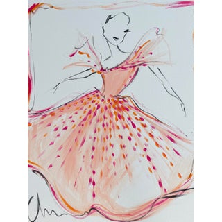 """""""Peach Embellished Flutter Sleeve Gown"""" Original Christian Siriano Painting For Sale"""
