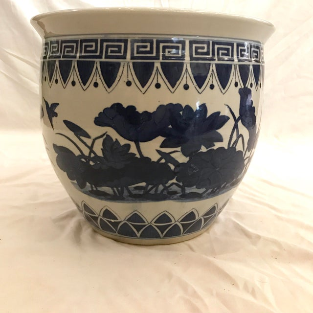 Large Blue and White Floor Planter For Sale - Image 4 of 5