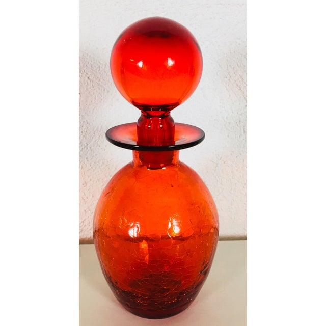 Blenko 1971 Brilliant Red Glass Vessel For Sale - Image 9 of 9