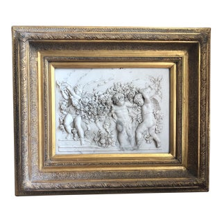 1890s Italian Marble Cherubs Relief Signed & Dated For Sale