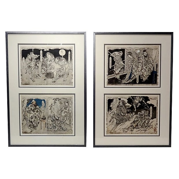 19th Century Japanese Woodblock Prints - Pair For Sale
