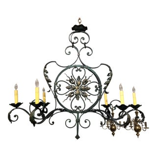 Antique French Late 19th Century Wrought Iron Chandelier