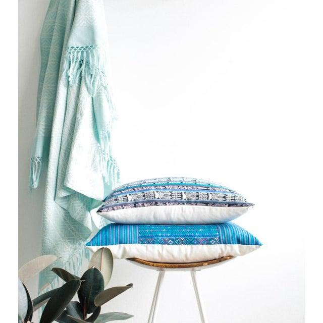 Vintage Guatemalan Cyan Ikat Pillow - Image 5 of 5