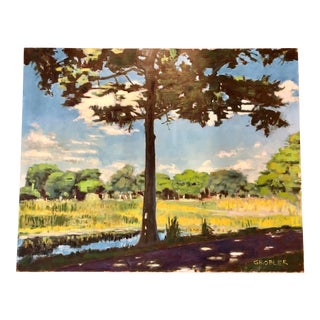 "Original Oil on Linen Canvas Board ""Dreher Park"" by Johann Grobler, 2016 For Sale"