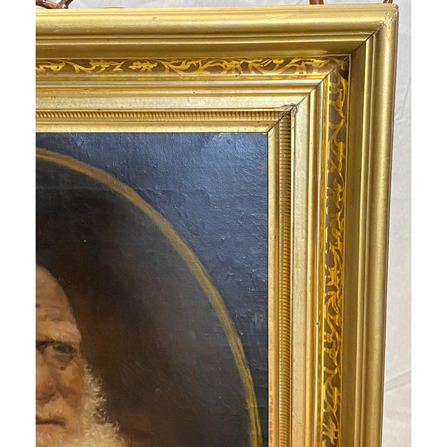 White Antique 19th C. Oil on Canvas Portrait of a Jewish Man Hebrew Beautiful Frame For Sale - Image 8 of 12