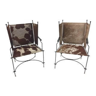 Mid Century Modern Wrought Iron Cowhide and Leather Club Chairs- a Pair For Sale