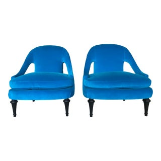 Mid Century Modern Velvet Azure Spoon Back Slipper Occasional Chairs Attributed Michael Taylor - a Pair For Sale