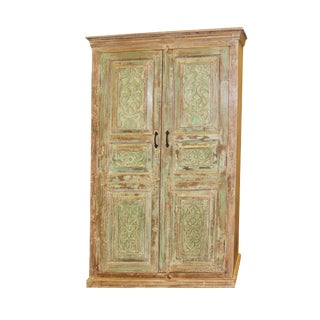 1920s Art Nouveau Rustic Green Old Doors Armoire For Sale