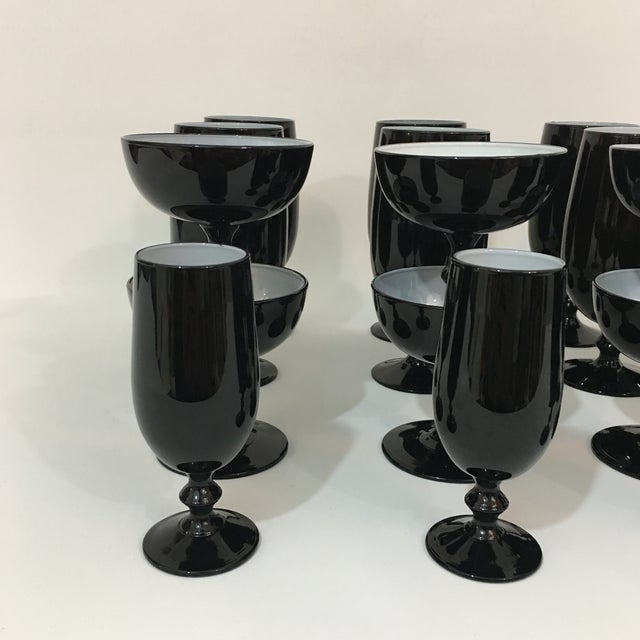 Abstract Vintage Carlo Moretti Black and White 20 Piece Glassware Set For Sale - Image 3 of 13