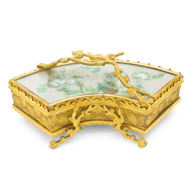 Gold French Victorian Bronze Dore Fan Box For Sale - Image 8 of 8