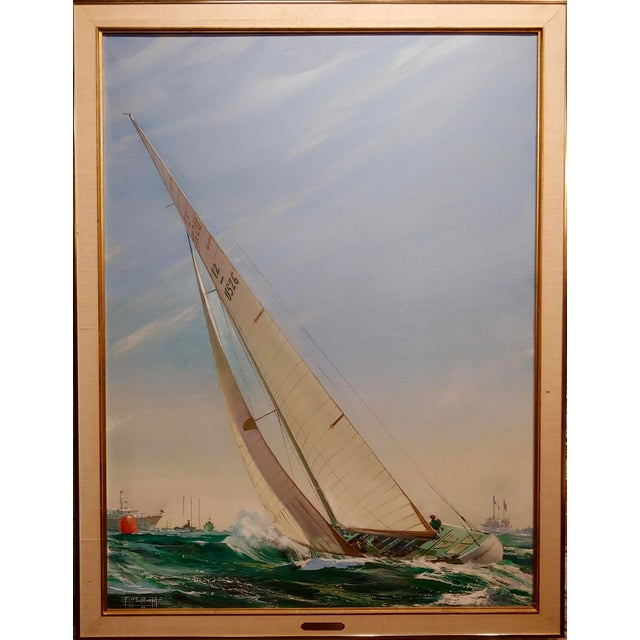 """Kipp Soldwedel -Victory 1974 -Sailing Yacht - Original Oil painting Oil painting on canvas-Signed frame size 34 x 44""""..."""