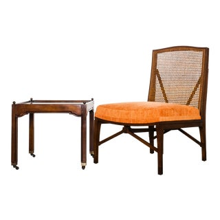 "1940s Antique ""American of Chicago"" Mid-Century Modern Walnut & Cane Accent Chair With Side Table For Sale"