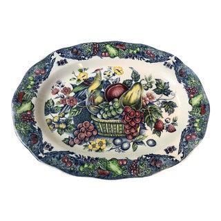 Fruits & Birds Transfer-Ware Porcelain Platter For Sale