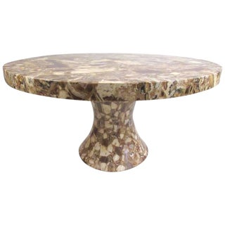 Round Pedestal Dining Table by Muller's Onyx For Sale