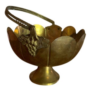 Art Nouveau Brass Fruit Bowl For Sale
