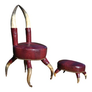19th Century Antique Lodge Style Horn Chair and Ottoman For Sale
